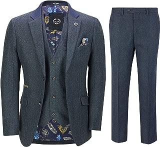 Mens 3 Piece Herringbone Tweed Suit in Navy Peaky Blinders Retro Style Blazer Waistcoat Trouser
