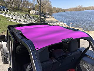 ALIEN SUNSHADE Jeep Wrangler JLU (2018-Current) Full Length Sun Shade Mesh Top Cover (Pink) – 10 Year Warranty - Blocks UV, Wind, Noise