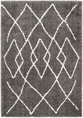 """Safavieh Flokati Collection FLK965H Area Rug, 5'3"""" x 7'6"""", Charcoal/Ivory"""