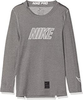 Nike Kid's Pro Long Sleeve Top, Carbon Heather/(White), L