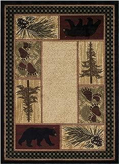 Rustic Lodge Black Bear 5x7 Area Rug, 5'3x7'3