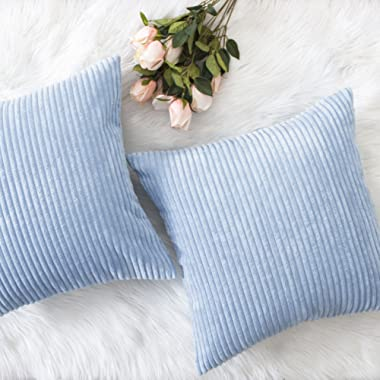 Home Brilliant Decor Throw Pillow Cover Set Solid Supersoft Corduroy Handmade Decorative Velvet Cushion Cover with Zipper for Bed, 2 Pieces, Light Blue, 18x18 Inch (45cm)