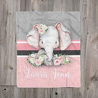 Pink Gray Elephant Custom Baby Name Blanket for Girl, Floral Elephant Toddler Girl Blanket, Girl Nursery Blanket, Elephant Baby Shower Gift, Personalized Pink Floral Girl Blanket