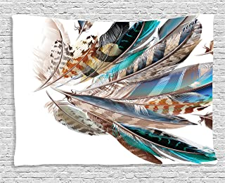 Ambesonne Feathers Tapestry, Vaned Types and Natal Contour Flight Bird Feathers and Animal Skin Element Print, Wide Wall Hanging for Bedroom Living Room Dorm, 60