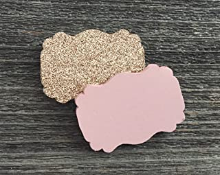 50 Blank Rose Gold Glitter Blush Scalloped Edge Bracket Hang Tags Tag - Baby Girl Birthday Wedding Party Card