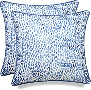 MANOJAVAYA Set of 2 Pcs Printed Rain Drops Decorative Square Accent Throw Pillow Cover - Home Decor for Couch, Sofa, Chair - 20x20, Blue