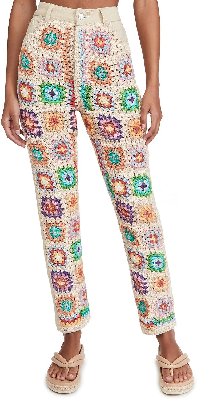 Free People Women's Crochet Zuri Mom Jeans