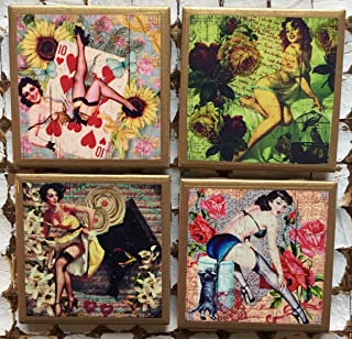 Retro Pinup coasters with gold trim
