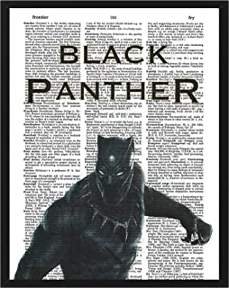 Black Panther Dictionary Art Marvel Comics Black Panther Poster Superhero theme wall art 8x10