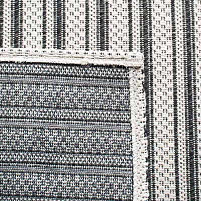 "Safavieh Augustine Collection AGT419H Stripe Area Rug, 7'7"" x 10', Black / Light Grey"