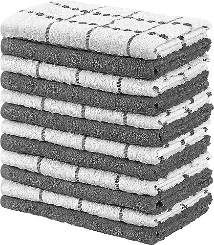 Utopia Towels - 12 Torchons de Cuisine - Serviettes de Cuisine 100% Coton - Lavable en Machine (38 x 64 cm) (Gris et ...