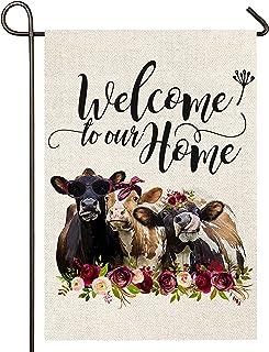 Atenia Welcome Floral Cows Garden Burlap Flag, Double Sided Welcome Garden Outdoor Yard Flags for Summer Decor (Garden Siz...