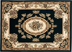 "Well Woven Timeless Le Petit Palais Black Traditional Area Rug 5'3"" X 7'3"""