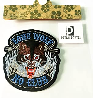Patch Portal Lone Wolf No Club Patch 4 Inches Biker Rocker Motorcycle Wildlife Animal Embroidered Sew Iron on Trendy DIY E...