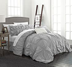 Chic Home Halpert 6 Piece Comforter Set Floral Pinch Pleated Ruffled Designer Embellished Bed Skirt, King, Silver
