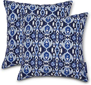 Vera Bradley by Classic Accessories Water-Resistant Accent Pillows, 18 x 18 x 8 Inch, 2 Pack, Ikat Island