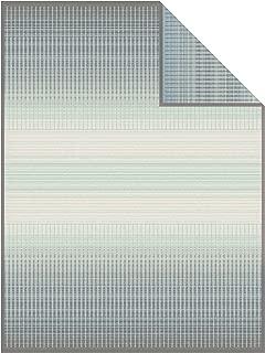 IBENA Grey/Mint Plush Jacquard Woven Cotton Blend Throw Blanket Emmen