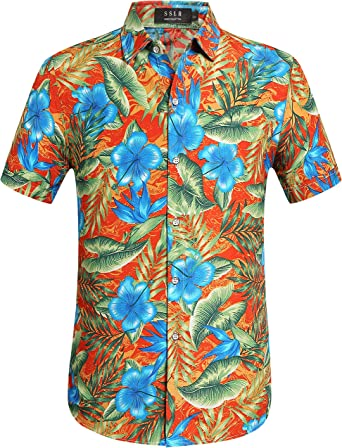 SSLR Camisa Hawaiana Hombre Manga Corta Aloha Luau Casual Tropical Estampado Flores