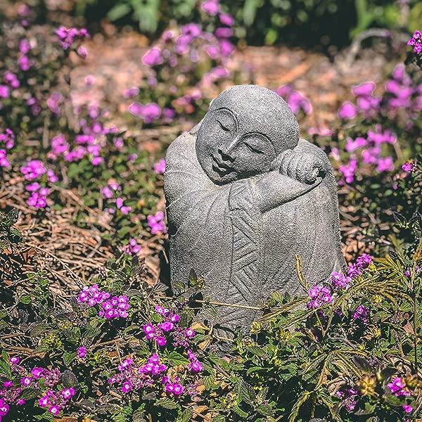 Grey Resting Jizo Statue Bosatsu Guardian Protector Ksitigarbha Jizo Buddha Figurine Bodhisattva Buddhist Monk Jizos Stone