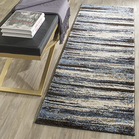 Safavieh Retro Collection Ret2138 Modern Abstract Non Shedding Stain Resistant Living Room Bedroom Runner 2 3 X 7 Cream Blue Furniture Decor