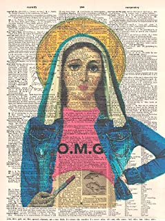 Art N Word Virgin Mary OMG Original Dictionary Sheet Pop Art Wall or Desk Art Print Poster