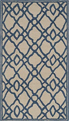 """Safavieh Four Seasons Collection FRS396C Hand-Hooked Area Rug, 2' 3"""" x 3' 9"""", Ivory/Blue"""