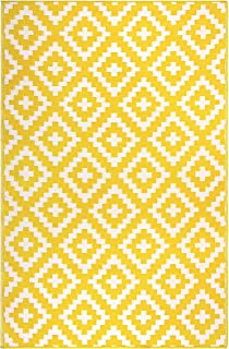 FH Home Indoor/Outdoor Recycled Plastic Floor Mat/Rug - Reversible - Weather & UV Resistant - FH05 - Yellow (6 ft x 9 ft)