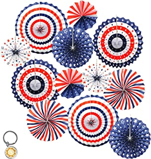 Mandala Crafts Hanging Circle Paper Fan Set for Party, Event, Birthday, Wedding, Tree, Wall, Backdrop Decoration (12, Red White Blue American Flag Patriotic)