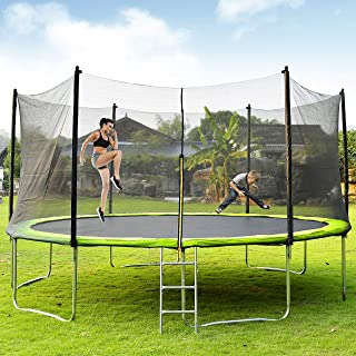 Merax 14FT 15 FT Trampoline with Enclosure Net, Circular Trampolines Outdoor Parkside for Adults/Kids, Family Jumping and Ladder