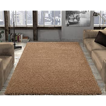 """Silk Road Concepts Collection Contemporary Shag Rugs, 5'3"""" x 7', Beige"""