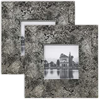 PF+A 4x4 Square Instagram Picture Frame, Morocco Metallic Silver/Black - Pack of 2