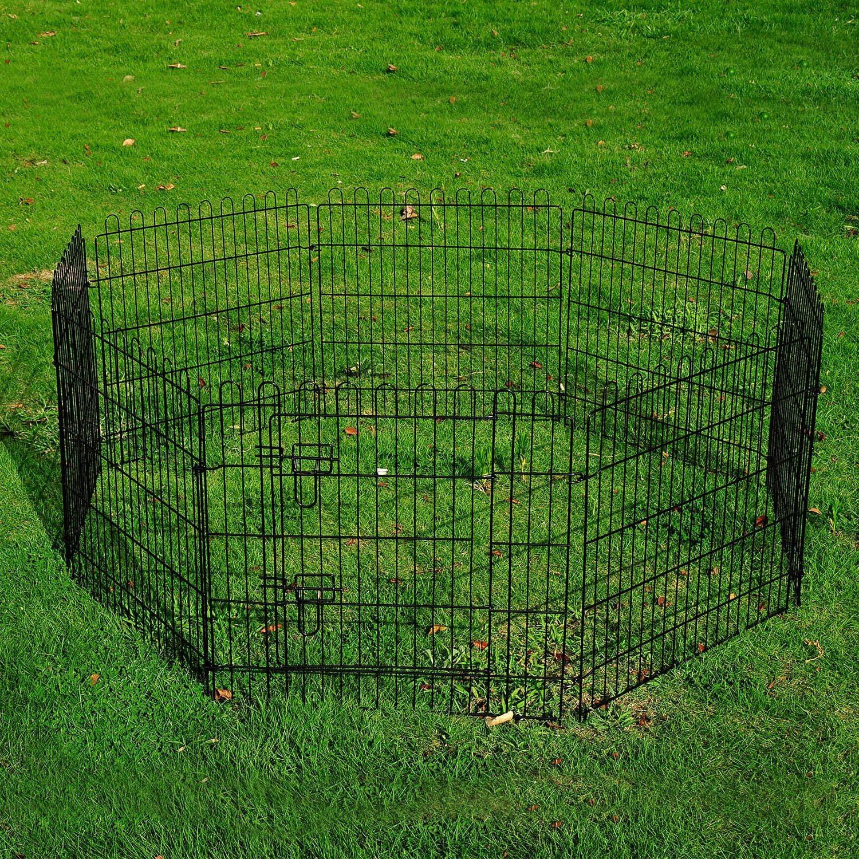 PawHut 30inch 8Panel Pet Playpen Metal Indoor Outdoor Exercise Dog Pen Cage Crate
