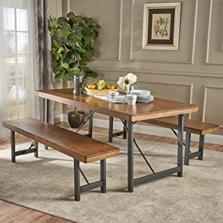 Christopher Knight Home 303372 Blane Farmhouse Cottage 3 Piece Rubberwood Table and Bench Set, Natural Walnut + Textured Black