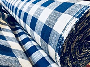 Gingham Linen Checked Linen Fabric Plaid Material Plaid Buffalo Check - 55 inches Wide (Sold by The Yard) (Royal Blue & White)