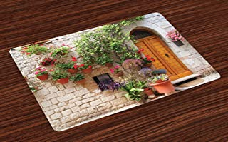 Lunarable Tuscan Place Mats Set of 4, Begonia Blossoms in Box Window Wooden Shutters Brick Wall Romagna Italy, Washable Fabric Placemats for Dining Room Kitchen Table Decor, Orange White