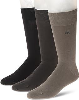 Calvin Klein Men's Flat Knit Crew Socks (3 Pair), Opal/Drab/Pinecone, UK 6 ½ -11/ Eur 40-46