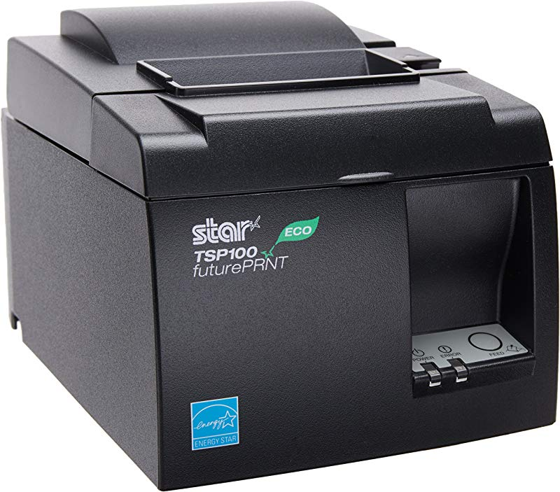Star MicronicsTSP143IIU GRY US ECO Thermal Receipt Printer Cutter USB Gray Internal Power Supply And Cable Included