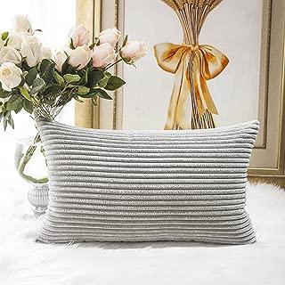 Home Brilliant Decorative Plush Velvet Corduroy Striped Throw Pillow Sham Pillow Case Cushion Cover for Lumbar, 12 x 20, Light Grey