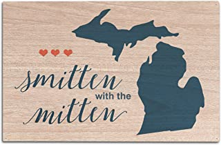Lantern Press Michigan - Smitten with The Mitten - Script Simple - Color (10x15 Wood Wall Sign, Wall Decor Ready to Hang)