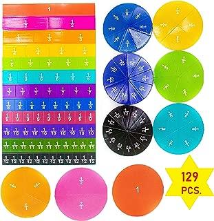 Daisy Inc. 129 pcs Magnetic Rainbow Fraction Tiles - Math Toys