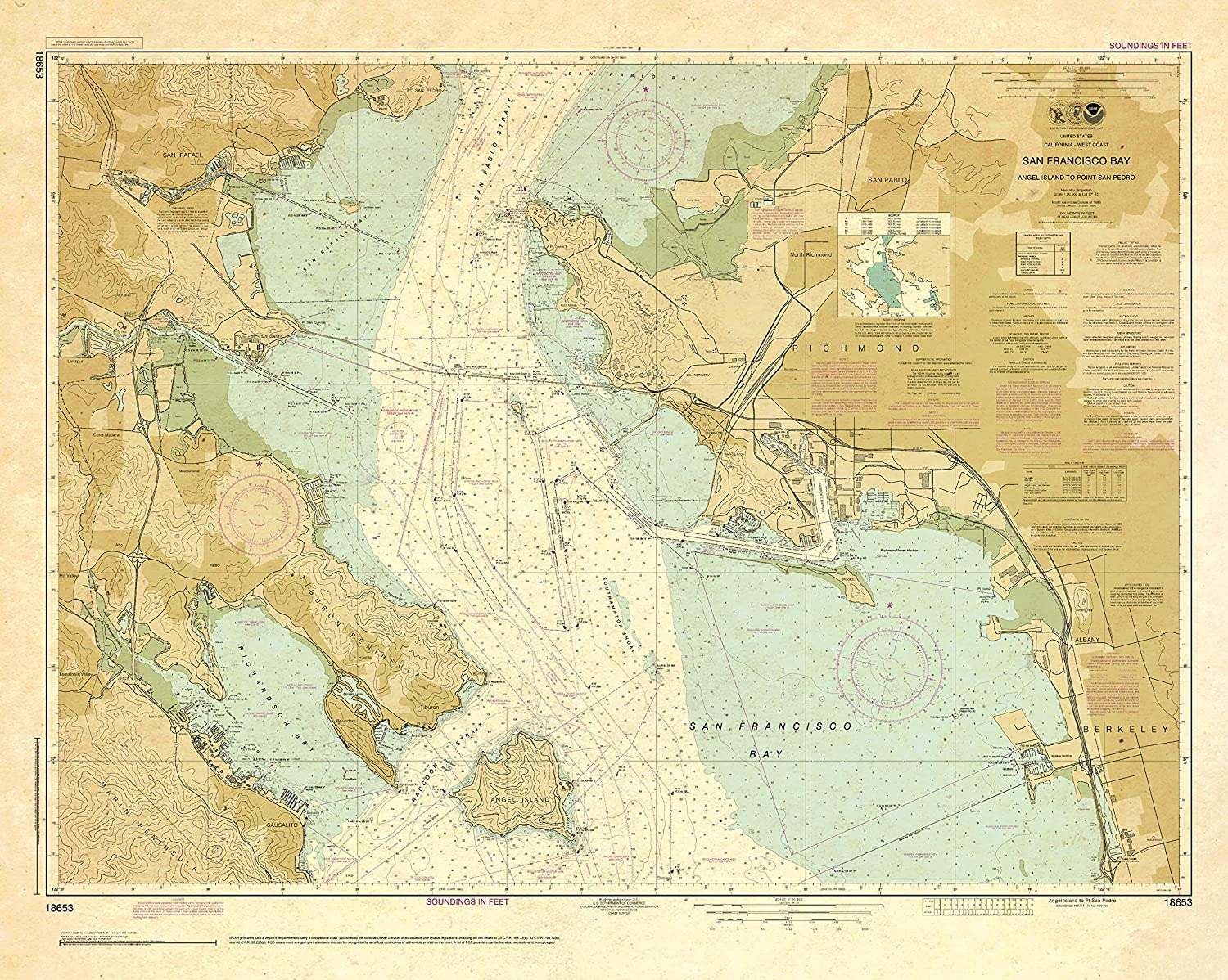 Paradise Cay Publications NOAA Chart 18653: Bay-An San OFFicial mail Free Shipping Cheap Bargain Gift order Francisco