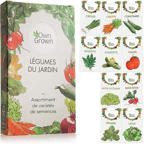Kit de graines de légumes prêt à pousser OwnGrown, 10 légumes incontournables à planter en un set pratique, Assortime...