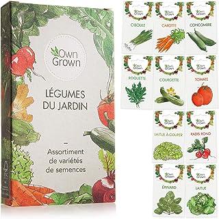 Kit de graines de légumes prêt à pousser OwnGrown, 10 légumes incontournables à planter en un set pratique, Assortiment gr...