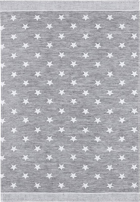 KRACHT Since 1810 Half Linen Jacquard Kitchen Towel Set Of 2 Stars 27 X 20 Inches Soft Absorbent Anti Static And Stain Resistant 50 50 Linen And Cotton Blend Grey