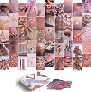 East Coast Mart Wall Collage Kit - 50 Pcs, 4x6 Inches, Photo Collage kit for Wall Aesthetic, Dorm Photo Display, Rose Gold Room Décor Aesthetic for Teen Girls