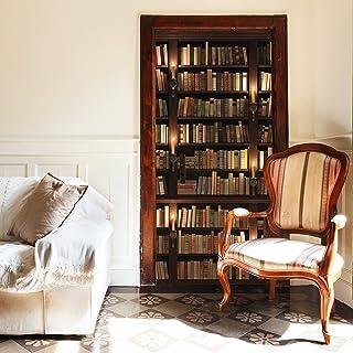 murimage Papel Pintado Puerta Librero 86 x 200 cm Incluye Pegamento Biblioteca Antigua Libros Velas estantería rústico Fot...