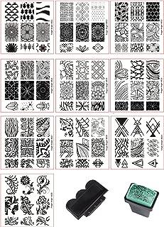 Beauty Leader 10 Pcs Nail Art Stamping Plate Mix Design Nail Art Template + 1 Pcs Green Rubber Stamper Nail Art Image Stamp Stamping Plates Manicure Template Nail Art Tools