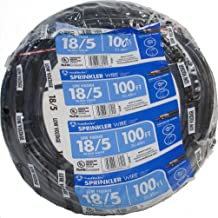 Southwire 49275143 100' 18/5 Multi-Conductor Sprinkler Wire for Outdoor use, Black, 100 foot,