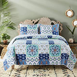 Soul & Lane Poetry in Motion 3-Piece Bedding Quilt Set - King with 2 Shams | Modern Patchwork Quilted Bedspread
