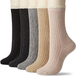 (イヤシ) 癒足 婦人 ソックス 靴下カシミヤタッチクルー 同柄5足セット リンクス無地他、3柄よりお選びください